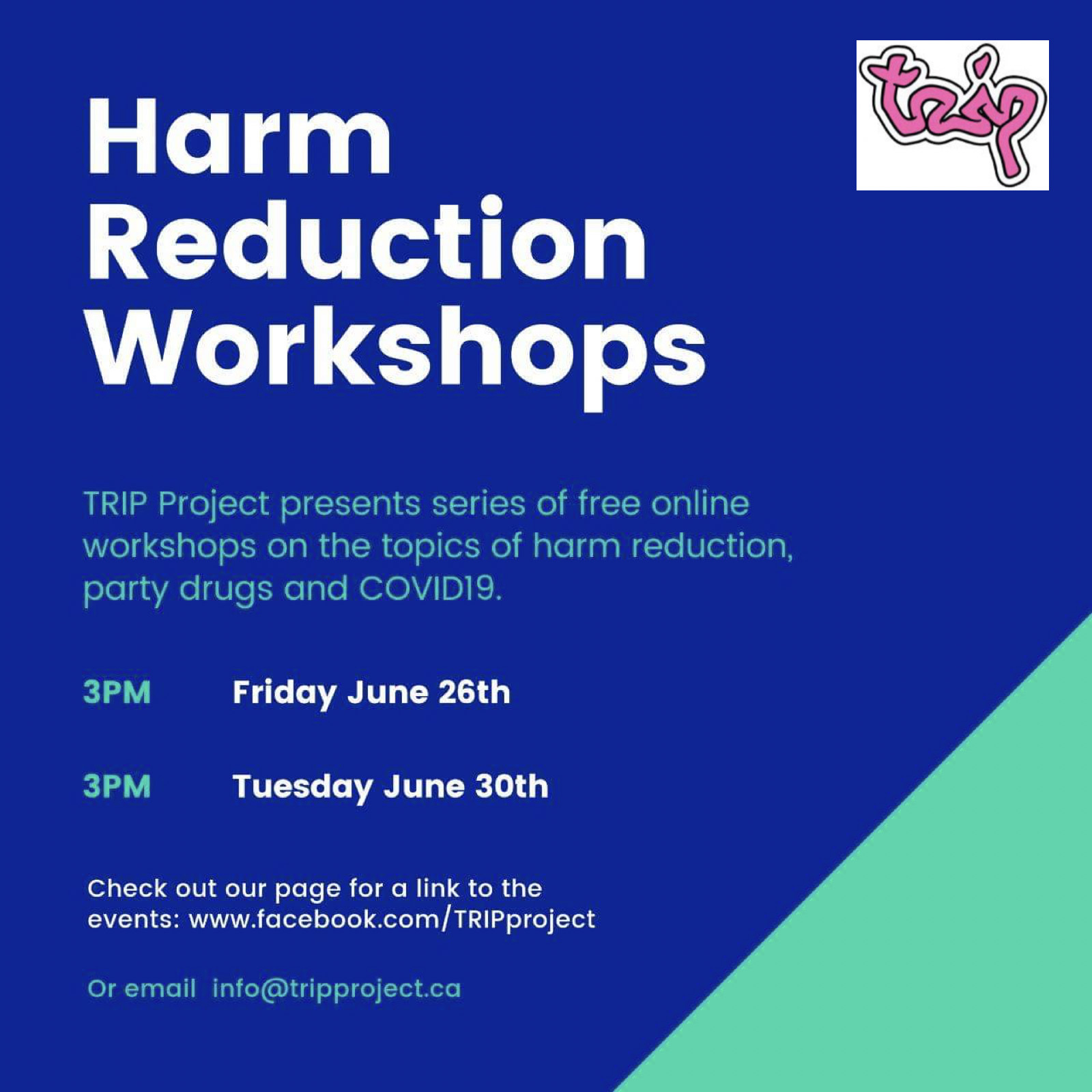 harm reduction workshop poster, same text as the post