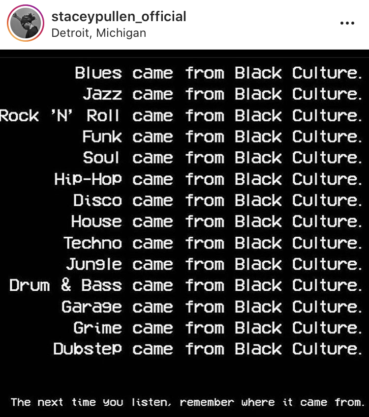 Lists a number of music genres and 'came from Black culture'
